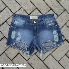 Shorts com correntes Gdoky Jeans: Perfeito para sair do óbvio! <3 #Aposte #Glam #Gdokyjeans #Sexta