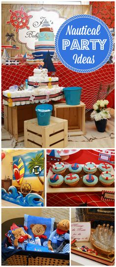 What a fun nautical themed baby shower! There's a beach themed photobooth, too! See more party ideas at CatchMyParty.com!