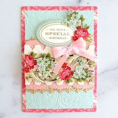 Anna Griffin Inc, Anna Griffin Cards, Scrapbook Page Layouts, Scrapbook Pages, Floral Border, Special Birthday, Pretty Cards, Quilting Tutorials, Your Cards