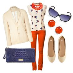 bright coral, blue and natural,