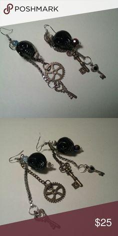 NEW Steampunk earrings skulls and keys Mixed media Steampunk,  glass skulls and metal keys. Arrives in gift box. NEW! Jewelry Earrings