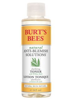 Burt's Bees Anti Blemish Clarifying Toner: Burt's Bees Anti Blemish Clarifying Toner A natural toner that removes lingering traces of facial cleanser, residual dirt, oil and make-up to clarify and calm troubled skin, naturally. £9.99