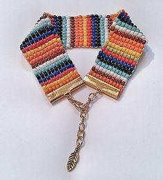 Rainbow Beadwork Bracelet  Multicolored Seed Bead by DuMoments