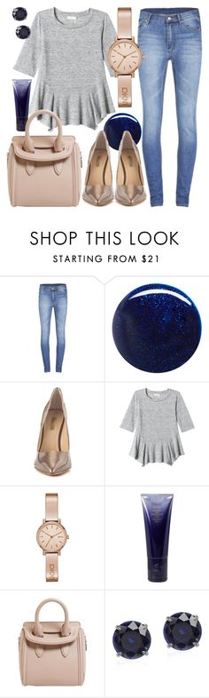 """""""Afternoon Delight"""" by k-hladik ❤ liked on Polyvore featuring Cheap Monday, RGB, GUESS, Rebecca Taylor, DKNY, Oribe, Alexander McQueen, gold, denim and Blue"""