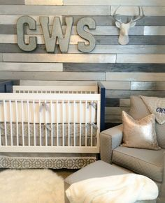Project Nursery - Metallic Wood Accent Wall in this Gray and Blue Nursery