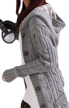SKCUTE Mid-Long Sweaters Warm Knitted Bleted Casual Gray Material:Cotton Pattern Type:Solid/Style:Casual Sleeve Style:Flare Sleeve Collar:Hooded/Sleeve Length:Full One size length(with Cardigans For Women, Jackets For Women, Clothes For Women, Mode Outfits, Fashion Outfits, Womens Fashion, Pullover Mode, Cute Winter Outfits, Long Sweaters