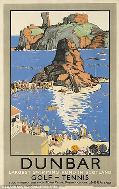 Vintage poster produced for London & North Eastern Railway (LNER) to promote rail travel to the Scottish east coast resort of Dunbar, showing holidaymakers swimming in the outdoor pool. Golf and Tennis is also available. Artwork by E Lander. Retro Poster, Poster Ads, Advertising Poster, Posters Uk, Railway Posters, British Travel, Tourism Poster, Vintage Travel Posters, Vintage Advertisements