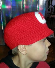 Super Mario Cap  KidsToddlerAdultRedWhiteHand by magicwoolball, $25.00