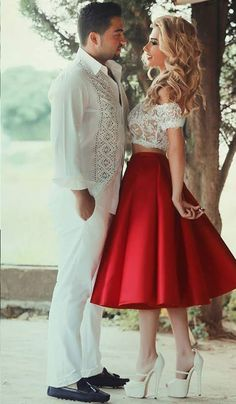 Two Pieces Homecoming Dress,Lace Top Homecoming Dress,Satin Red Homecoming Dress,Pretty Cheap Homecoming Dress,Short Homecoming Dress,Homecoming Dresses 2016