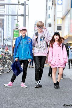 Toshimi, Toy, and Hitomi on the street in Harajuku wearing resale fashion along with items from Never Mind the XU, Joyrich, DTTK, WEGO, UNIQLO, Vivienne Westwood, and Nike.