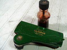Vintage Wooden Green Enamel & Glass Shinola Shoe by DivineOrders, $14.00