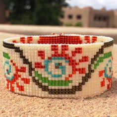 Fiesta Flora Bead Loom Bracelet Artisanal Jewelry Native Motif Western Beaded Gypsy Boho Bohemian Native American by PuebloAndCo on Etsy https://www.etsy.com/listing/236512214/fiesta-flora-bead-loom-bracelet
