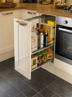 Burford Gloss Cream - Burford - Kitchen Families - Kitchen Collection - Howdens Joinery Narrow cupboard