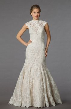 Bridal Gowns: Danielle Caprese Mermaid Wedding Dress with High Neck Neckline and Dropped Waist Waistline