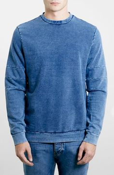 Men's Topman Indigo Panel Crewneck Sweatshirt