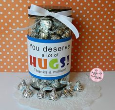 Hugs for #TeacherAppreciation Gifts.  Gotta See the tags and labels that make putting together your Teacher Appreciation gifts Super Simple!