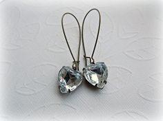 Vintage Rhinestone Heart earrings Heart by HappyTearsbyMicah, $14.00
