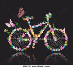 Clipart - bicicleta, com, flores k7261563 - Busca de Ilustrações, Clip Art, Desenhos, Ilustrações vetoriais e video clip de animação EPS. - k7261563.eps