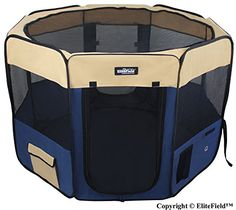 Dog Houses - EliteField 2Door Soft Pet Playpen Exercise Pen Multiple Sizes and Colors Available for Dogs Cats and Other Pets 52 x 52 x 32H BeigeNavy Blue * See this great product. (This is an Amazon affiliate link)