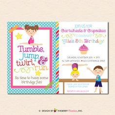 Gymnastics Birthday Party Invitation (Boy Girl Version) - Cupcakes & Cartwheels (Digital, Printable File) by inkberrycards on Etsy https://www.etsy.com/listing/188727812/gymnastics-birthday-party-invitation-boy