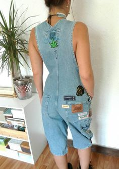 Items similar to Original jean overalls customized patches and badges sewn by hand, large denim overalls, overalls vintage overalls mixed. on Etsy Overalls Women, Denim Overalls, Dungarees, Jeans Overall, Jeans Rock, Jumpers, Jumpsuits, Trending Outfits, Type