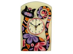 Cat Wall Clock, Silent, Animal, Black Cat Wall Clock, Colorful, Cat Home Decor, Kids Clock, Nurcery Decor, Funny Home Decor