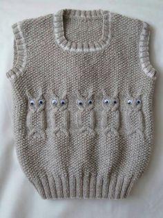 2016 Baby Boy Vest With Model - super koristelu ideoita Baby Knitting Patterns, Baby Boy Knitting, Knitting For Kids, Knitting Designs, Free Knitting, Crochet Patterns, Baby Knits, Cardigan Bebe, Crochet Cardigan