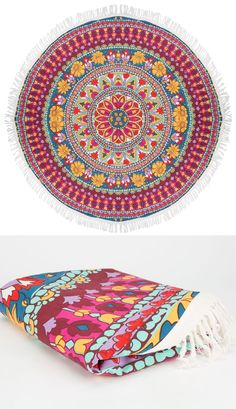 Billabong Poolside Rays Round Beach Blanket. Why be a square when you can be round. Allover boho floral print with contrast fringe trim.