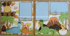 Boy dinosaur scrapbook layout made using the dinosaur file from treasure box designs. More pics can be found at www.facebook.com/LissaLeigheDesigns