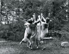 "Circa 1915. ""Four dancing figures."" Gelatin silver print by the pioneering Washington, D.C., photographer Frances Benjamin Johnston."