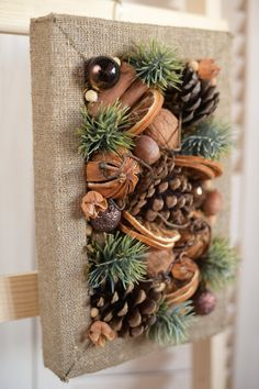 Christmas decor on the wall of their natural materials in rustic style for home decoration for the holiday Christmas Natural Christmas, Rustic Christmas, Christmas Holidays, Christmas Wreaths, Christmas Ornaments, Burlap Christmas Crafts, Christmas Sale, Christmas Projects, Holiday Crafts