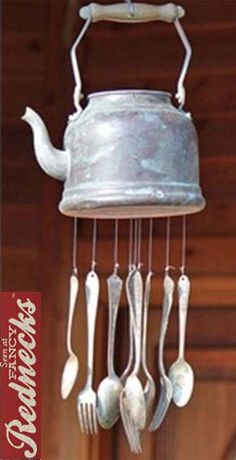 DIY wind chimes made from a tin kettle and silverware!