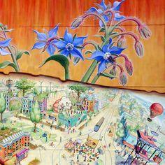 San Francisco Mural Arts | Mona Caron | Farmers Market 2009 ~ Location: 24th st betw Sanchez St & Vicksburg St, Noe Valley