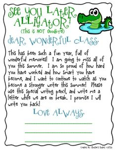 Editable Student End Of Year Letter Freebie This Student End Of