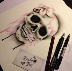 Sweet Decay Skull Tattoo Design by Zindy S. D. Nielsen