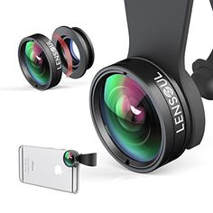 Iphone Camera Lens with Phone Clip Holder by Lensoul- 3 in 1 Clip-on Cell Phone Camera Lens Kit, 180 Degree Fisheye Lens/ Wide Angle Lens/ 10 X Marco Lens