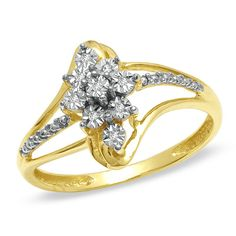 Diamond Accent Marquise Shape Ring in 10K Two-Tone Gold