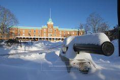 Lane Hall in snow, Virginia Tech