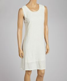 This Anuna Ivory Sequin Sleeveless Dress by Anuna is perfect! #zulilyfinds
