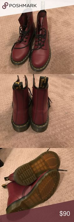 Red doc martens boots Red doc martens boots. Worn once. No box Shoes Combat & Moto Boots