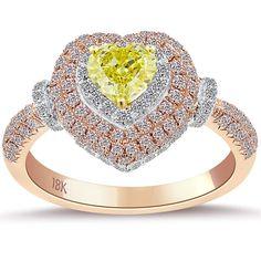 1.69 Ct. Natural Fancy Yellow Heart Shape Diamond Engagement Ring 18k Rose Gold #LioriDiamonds #DiamondEngagementRing