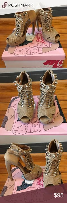 Nude studded Jeffrey Campbell heels These Nude studded Jeffrey Campbell heels are super edgy and are the perfect piece to spice up any outfit! They have super cute accents, including the lace up eyelet front, the studded ankle straps and the round studded toe accents. They also have a zipper on the back of the ankle. Only warn once in great condition!  Size 7, List price or reasonable offers✨👠 Jeffrey Campbell Shoes Heels