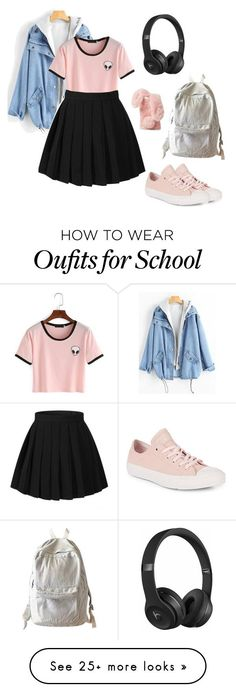 """""""Nuteral Alien"""" by clevver on Polyvore featuring Converse, WithChic, Ashlyn'd and Beats by Dr. Dre #polyvoreoutfits"""