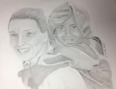 Audrey Hepburn with an Ethiopian child Pencil on paper 2017