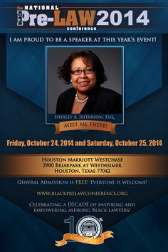 Meet Shirley A. Jefferson, Esq., Associate Dean for Student Affairs & Diversity, Vermont Law School (South Royalton, Vermont), at the 10th Annual National Black Pre-Law Conference and Law Fair 2014 on Friday, October 24, 2014 and Saturday, October 25, 2014 at the Houston Marriott Westchase in Houston, Texas.   Free of charge! Everyone is welcome! Register today! www.blackprelawconference.org/ #blackprelawconference #lawyerssupportingfuturelawyers