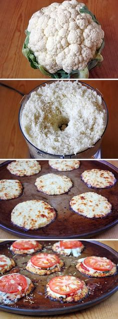 A yummy low-carb alternative to traditional crust. Minus the tomatoes :(Mini Cauliflower Pizza Crusts! A yummy low-carb alternative to traditional crust. Minus the tomatoes :( Low Carb Recipes, Vegetarian Recipes, Cooking Recipes, Healthy Recipes, Pureed Recipes, Pureed Food, Pizza Recipes, Potato Recipes, Diet Recipes
