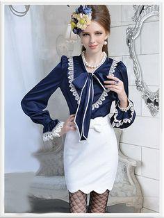 Morpheus Boutique  - Navy Satin Vintage Style Lace Ruffle Bow Hem Long Sleeve Shirt , $56.99 (http://www.morpheusboutique.com/navy-satin-vintage-style-lace-ruffle-bow-hem-long-sleeve-shirt/)