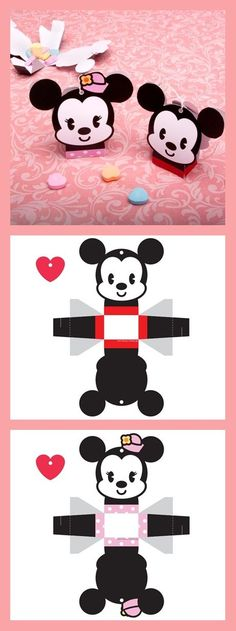 Make a tiny Valentine's Day delivery with these cute-as-can-be cutie candy boxes -- perfect for some candy hearts. Diy Toy Box, Diy Gift Box, Diy Box, Mickey Mouse Crafts, Disney Crafts, Diy Paper, Paper Art, Paper Crafts, Mickey Party