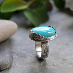 Sterling Turquoise Ring Oxidised Sterling Silver by christinewalsh