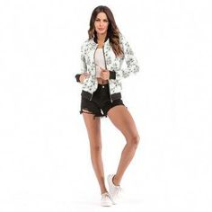 Women's White Baseball Floral Bomber Jacket Varsity Zip Up Outerwear,all the Cheap Women's Clothes you order will be shipped in days after payment,guaranteed best deal of women's clothing store. Cheap Sportswear, Workout Clothes Cheap, Coats For Women, Clothes For Women, Floral Bomber Jacket, Swimwear Sale, Womens Clothing Stores, Outerwear Women, Sport Outfits